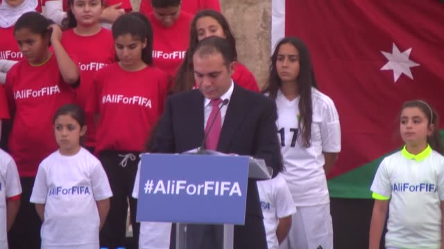 vídeos y material grabado en eventos de stock de jordan's prince ali bin alhussein announces his candidacy for fifa presidency for the upcoming election at the roman amphitheatre in downtown amman... - anfiteatro
