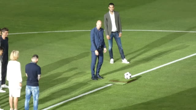 jordi cruyff and danny coster of fc prior to the friendly match between fc barcelona u19 and ajax u19 at estadi johan cruyff - lionel messi stock videos and b-roll footage