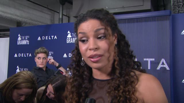 interview jordin sparks on traveling and the upcoming grammy award show at delta air lines kicks off grammy weekend with private performance by... - delta air lines stock-videos und b-roll-filmmaterial