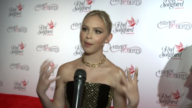 jordyn jones on who are you most looking forward to seeing tonight and on what about redbird song foundation's mission appeals to you and on what are... - the beverly hilton hotel stock-videos und b-roll-filmmaterial