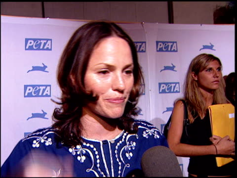 Jorja Fox on being a vegetarian and loving PeTA at the PeTA's 25th Anniversary Gala And Humanitarian Awards Show at Paramount Studios in Hollywood...