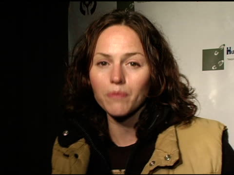 Jorja Fox talks about the Huckleberry Fund at the Children's Hospital Los Angeles' Huckleberry Fund Benefit and Exhibit at Bergamot Station in Santa...