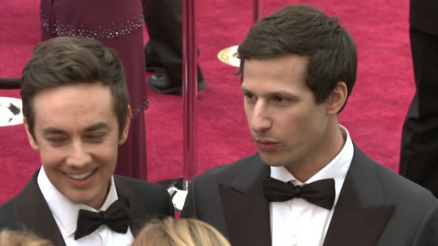 Jorma Taccone and Andy Samberg at the 87th Annual Academy Awards Arrivals at Dolby Theatre on February 22 2015 in Hollywood California
