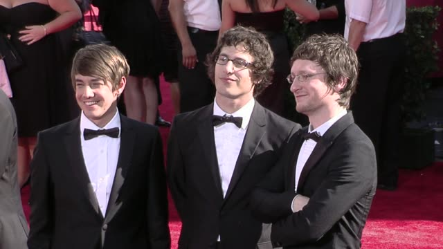 Jorma Taccone Andy Samberg and Akiva Schaffer at the 61st Annual Primetime Emmy Awards Arrivals Part 4 at Los Angeles CA