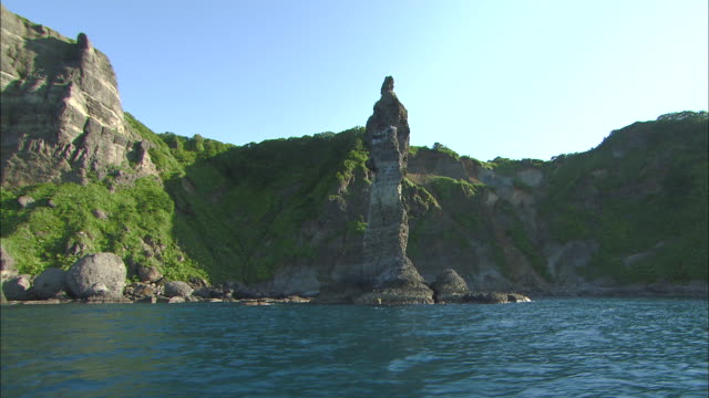 Jorokko Rock standing on the cliff coast of Shakotan Peninsula The rock has a legend of Minamoto no Yoshitsune that an Ainu daughter in love with...