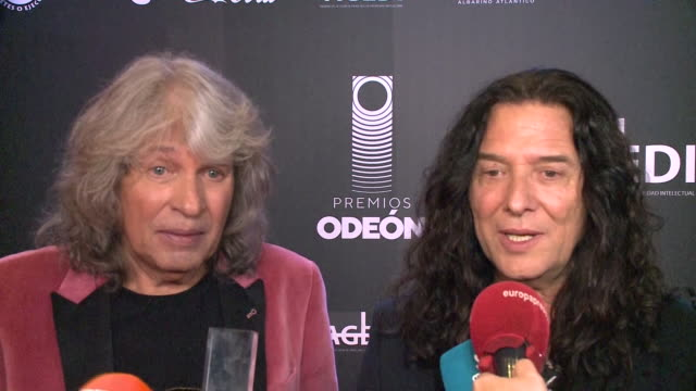 josé mercé and tomatito, winners of the best flamenco album award, pose in the trophy room during the 1st odeon awards at teatro real - western european culture stock videos & royalty-free footage
