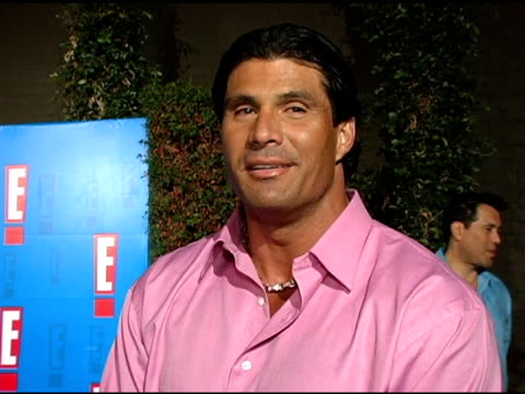 jose canseco on what brings him out tonight, how he can identify with reality television stars, how he feels about the rafael palmeiro's steroid... - rafael palmeiro stock videos & royalty-free footage