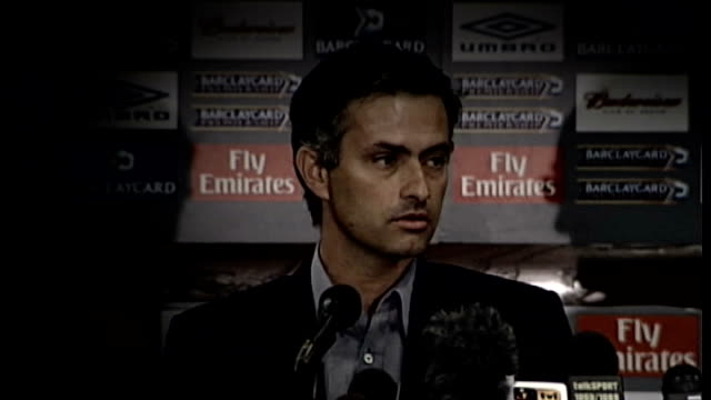 jose mourinho gives first press conference after being confirmed as chelsea's new manager t02060406 / tx london jose mourinho press conference sot... - 2004 stock videos & royalty-free footage