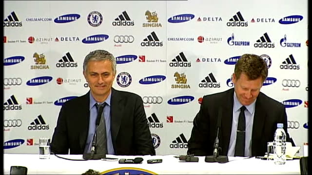 jose mourinho gives first press conference after being confirmed as chelsea's new manager side view mourinho at press conference jose mourinho press... - happiness stock videos & royalty-free footage