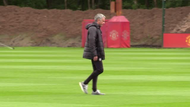 Jose Mourinho holds a training session ahead of Manchester United's Europa League final against Ajax