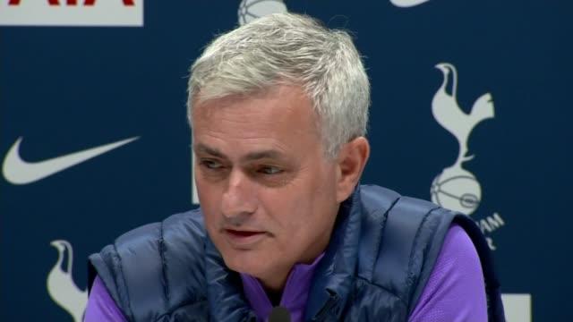jose mourinho stages first press conference as tottenham hotspur head coach england london tottenham hotspur training ground int jose mourinho press... - ジョゼ・モウリーニョ点の映像素材/bロール