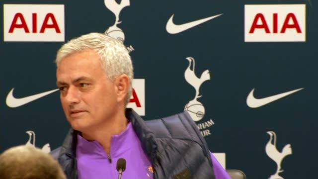 jose mourinho stages first press conference as tottenham hotspur head coach england london tottenham hotspur training ground int jose mourinho... - ジョゼ・モウリーニョ点の映像素材/bロール