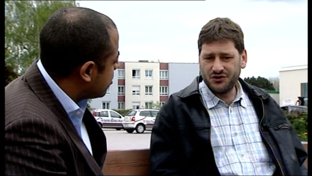 interview with tenant day christof laumar interview sot passersby outside fritzl family home sign saying 'warum' outside apartment building - tenant stock videos & royalty-free footage