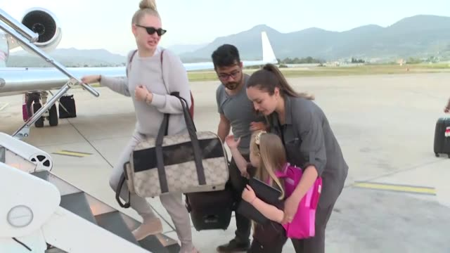 josef sural's wife denisa daughters vanessa and melissa denise board turkish foreign minister mevlut cavusoglu's plane to prague on april 29 2019 in... - mediterranean turkey stock videos and b-roll footage