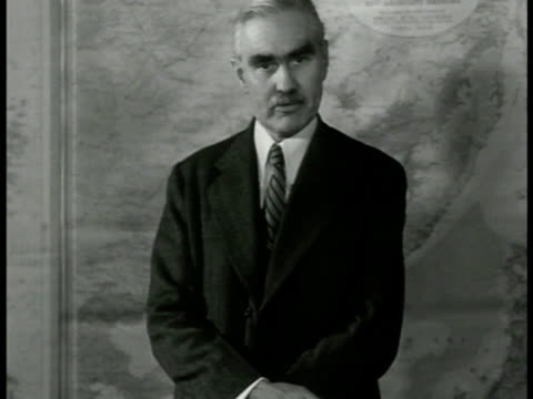 stockvideo's en b-roll-footage met joseph c grew standing in front of map saying 'against the madness of japan's peoplethe future is ours or there'snot other choice' ws shinto style... - 1943