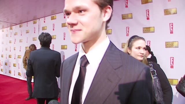 joseph cross on the excitement of award shows at the broadcast film critics association's 2007 critic's choice awards at santa monica civic... - ブロードキャスト映画批評家協会点の映像素材/bロール