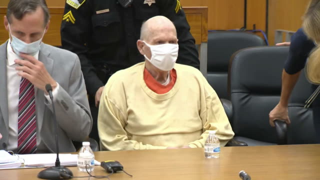 joseph deangelo known as the golden state killer enters a courtroom to hear victim impact statements in sacramento california - crime or recreational drug or prison or legal trial stock-videos und b-roll-filmmaterial
