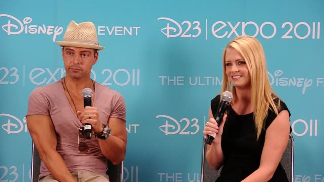 joseph lawrence and melissa joan hart on their plans while at d23. - melissa joan hart video stock e b–roll