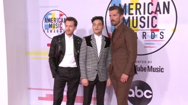 Joseph Mazzello Rami Malek and Gwilym Lee at the 2018 American Music Awards at Microsoft Theater on October 09 2018 in Los Angeles California