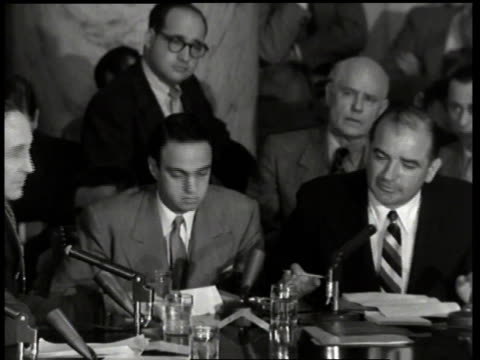 joseph mccarthy arguing in hearing / washington dc united states - anno 1954 video stock e b–roll
