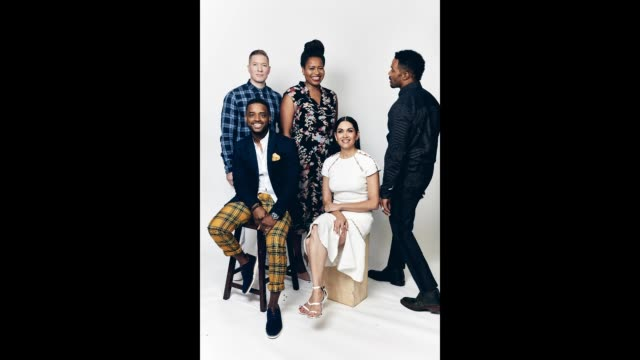 joseph sikora larenz tate courtney a kemp lela loren and omari hardwick of starz's 'power' pose for a portrait during the 2018 summer television... - larenz tate stock videos and b-roll footage