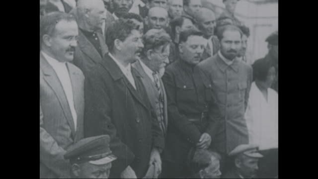 joseph stalin and leon trotsky stand with a group of men circa 1923 - 1923 stock videos & royalty-free footage