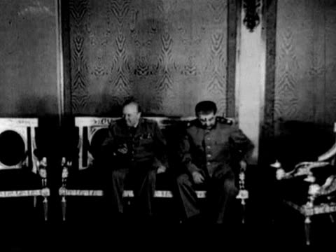 joseph stalin and winston churchill after their meeting in moscow at tolstoy conference - moscow russia stock videos & royalty-free footage