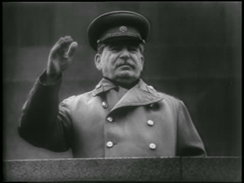 joseph stalin in uniform waving outdoors / soviet union / newsreel - 1952 stock videos & royalty-free footage