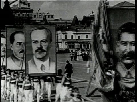 joseph stalin, nikita khrushchev, and other russian officials watch a parade. - secretary general stock videos & royalty-free footage