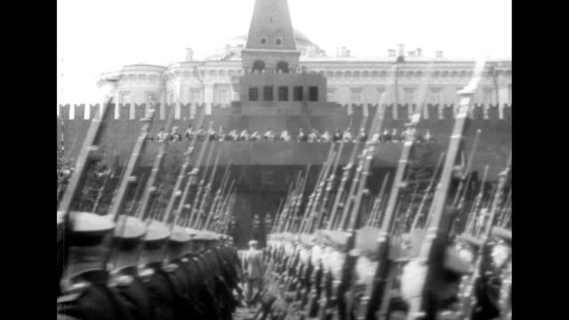 joseph stalin salutes the soviet armed forces during a military parade in red square, moscow. - former soviet union stock videos & royalty-free footage