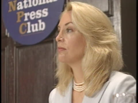 joseph wilson and wife, valerie plame wilson, appear before the national press club in washington, d.c. after president bush commutes the sentence of... - caucasian appearance stock videos & royalty-free footage