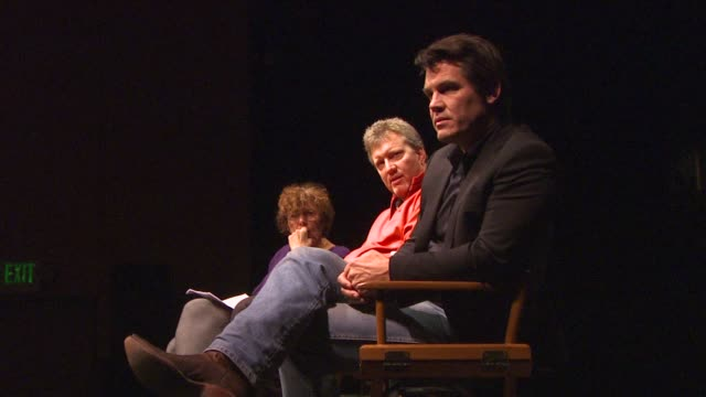 josh brolin answers questions from the students at the 'the people speak' college tour at los angeles ca - an answer film title stock videos & royalty-free footage