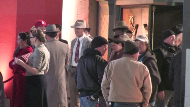 josh brolin, ryan gosling, robert patrick and anthony mackie on the set of 'gangster squad' in hollywood on 12/08/11 - gosling stock videos & royalty-free footage