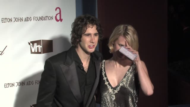 josh groban and january jones at the 14th annual elton john aids foundation oscar party cohosted by audi chopard and vh1 at the pacific design center... - january jones stock videos & royalty-free footage