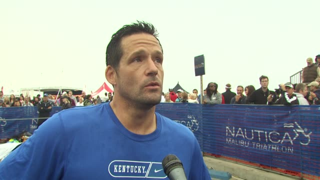 josh hopkins on the difference between swimming when you're training at the 24th annual nautica malibu triathlon at malibu ca - nautica malibu triathlon stock videos & royalty-free footage