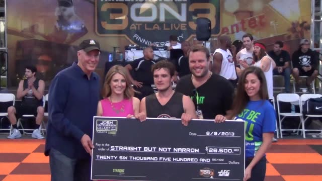 Josh Hutcherson Presented With A Check For The Charity At 5th Annual Nike Basketball 3ON3