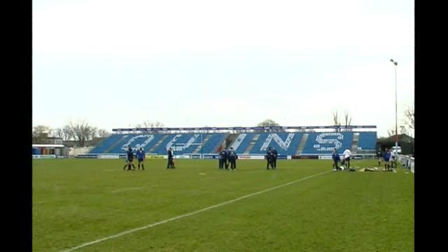 twickenham ext general views of empty harlequins stadium ian stafford interview sot - stafford england stock videos and b-roll footage