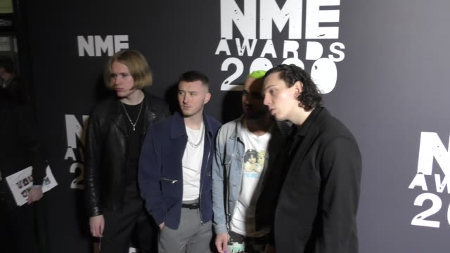 josh noble dom want henry beach and matt williams of the larkins at the nme awards at o2 academy brixton on february 12 2020 in london england - beach stock videos & royalty-free footage