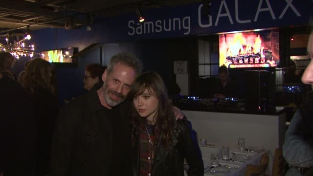 josh pais ellen page at celebrities visit the samsung galaxy lounge day 1 on 1/18/13 in park city utah - 1日目点の映像素材/bロール