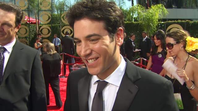 josh radnor on his show's nomination becoming an actor how he thinks his costar neil patrick harris will do as the show's host at the 61st annual... - annual primetime emmy awards stock-videos und b-roll-filmmaterial