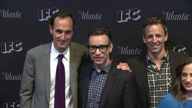 josh sapan fred armisen seth meyers jennifer caserta bill hader rhys thomas and alex buono at documentary now new york screening at new world stages... - seth meyers stock videos and b-roll footage