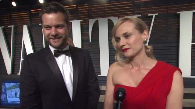 joshua jackson and diane kruger at the 2015 vanity fair oscar party hosted by graydon carter at the wallis annenberg center for the performing arts... - oscar party stock videos & royalty-free footage