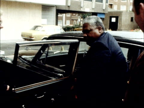 joshua nkomo arrives in london on private visit england london ext joshua nkomo from car at hotel - joshua nkomo stock videos & royalty-free footage