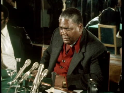 int joshua nkomo press conference sof re ian smith and situation in rhodesia ekta 16mm itn/downes 25secs 16ft - joshua nkomo stock videos & royalty-free footage