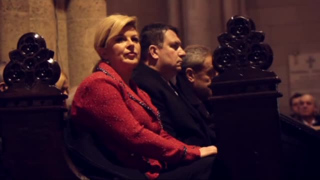 josip bozanić cardinal of the roman catholic church leads a christmas mass in a cathedral in zagreb croatia on december 25 2015 - zagreb stock videos and b-roll footage