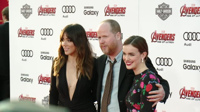 Joss Whedon Chloe Bennet and Elizabeth Henstridge at The World Premiere of Marvel's 'Avengers Age of Ultron' at Dolby Theatre on April 13 2015 in...