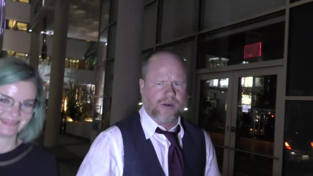 INTERVIEW Joss Whedon talks about Justice League movie outside the Hamilton Opening Night Party at NeuHouse in Hollywood in Celebrity Sightings in...