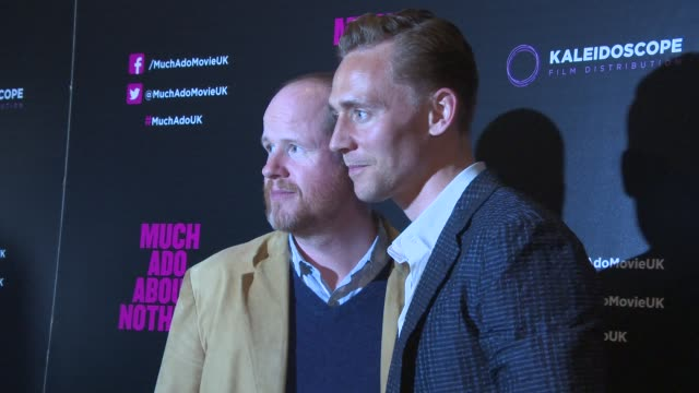 BROLL Joss Whedon Tom Hiddleston at 'Much Ado About Nothing' Gala Screening at Apollo Piccadilly Circus on June 11 2013 in London England