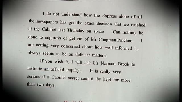 journalist chapman pincher releases autobiography to mark his 100th birthday; int close shot - 4th may 1959 letter from prime minister harold... - autobiography stock videos & royalty-free footage
