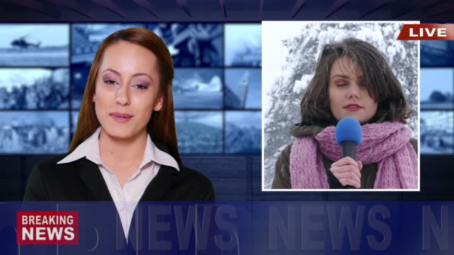journalist reporting live in tv news - weather stock videos & royalty-free footage